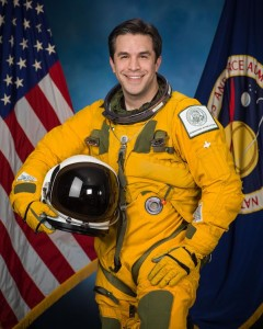 NASA/JSC WB-57 high altitude flight program flight engineer Jared Novick in pressure suit.  Photo Date: January 27, 2015.  Location: Building 8, Room 183 - Photo Studio.  Photographer: Robert Markowitz