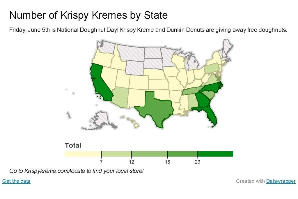 Map of the Week: National Doughnut Day | UBIQUE Dunkin Donuts Map on
