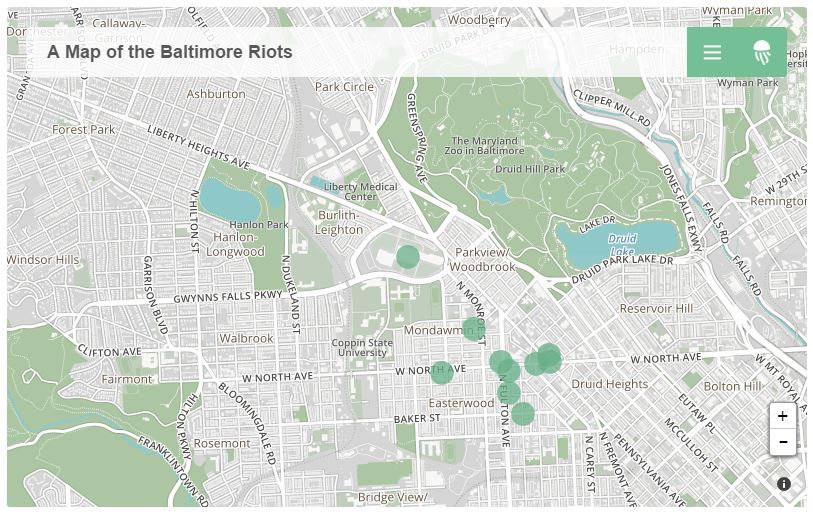 A Map of the Baltimore Riots