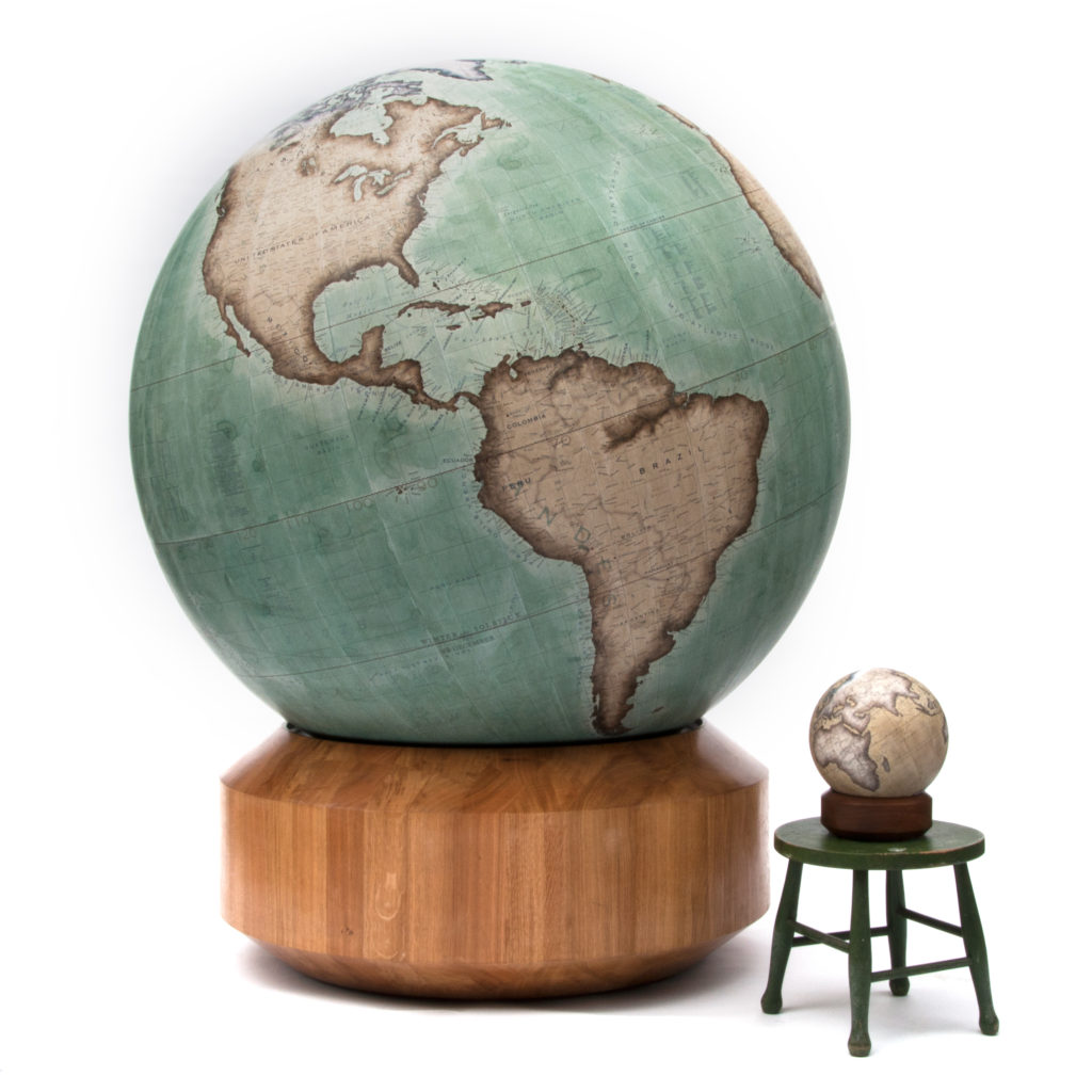 127cm_Churchill_Globe_next_to_a_Mini_Desk_Globe_photo_credit_Bellerby_and_Co_Globemakers