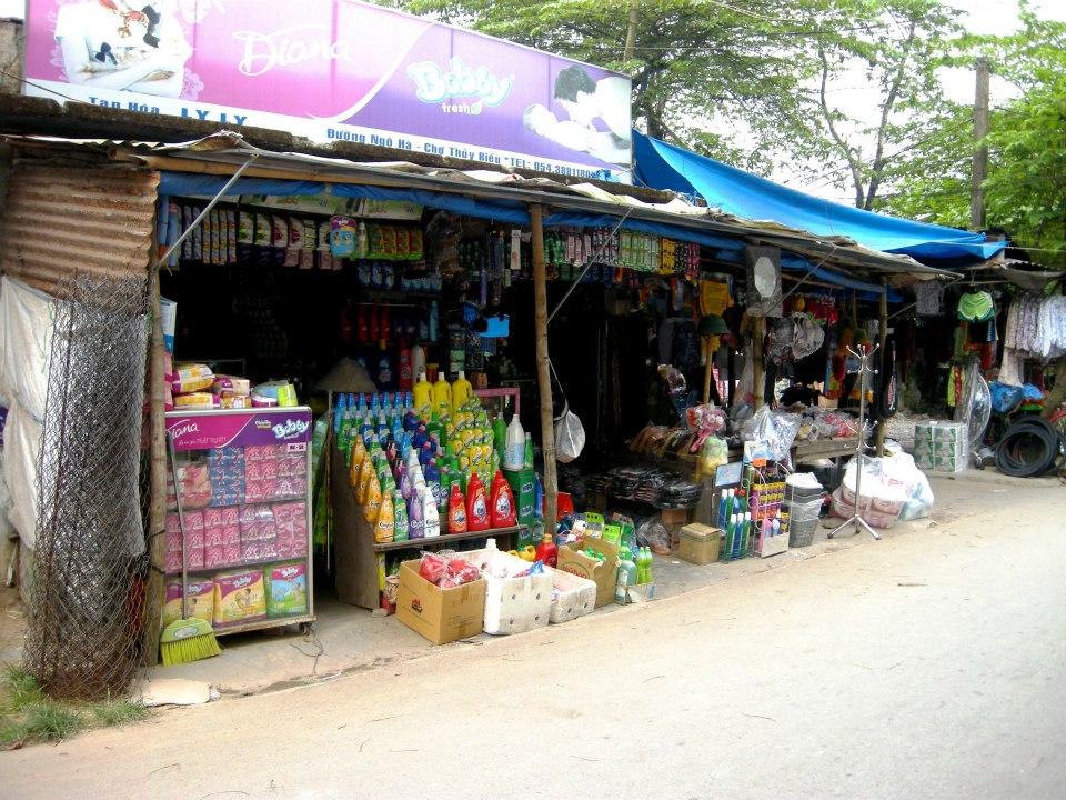 A village market square in rural Vietnam.