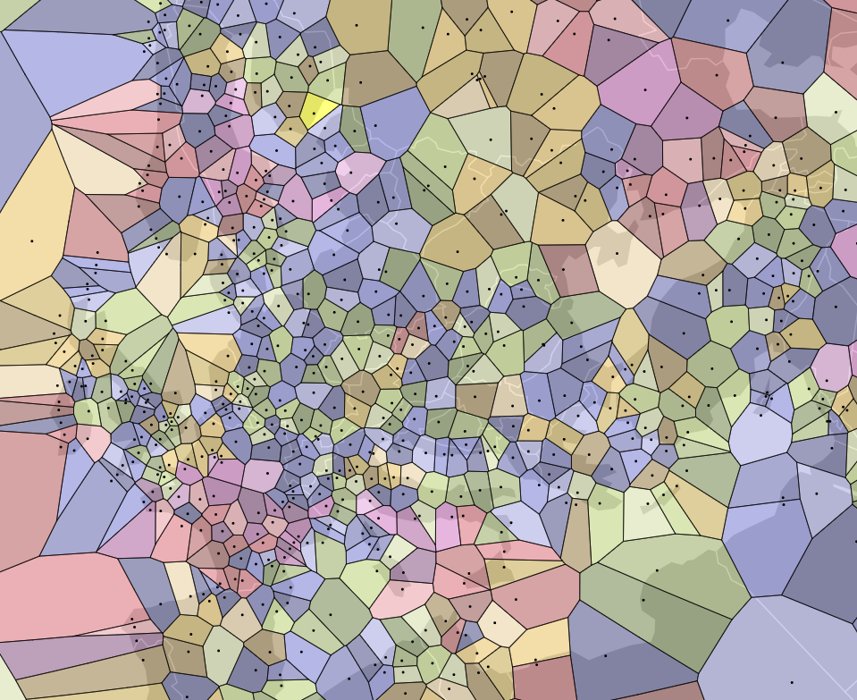 Voronoi Diagrams | Map Of The Week Voronoi Diagrams In Geography Ubique