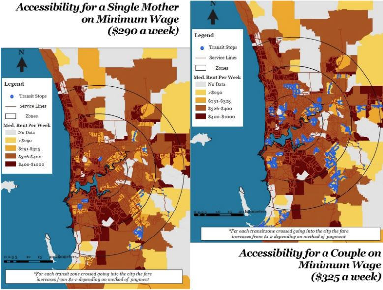 Map Of Australia And Surrounding Areas.Map Of The Week Equity Accessibility In Perth Australia Ubique